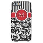 Monogram Red Black White Striped Damask iPhone 6 Case