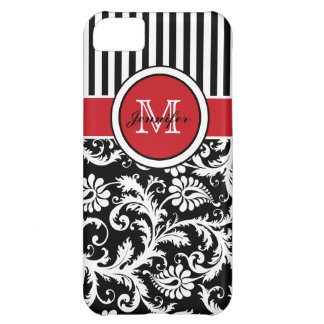 Monogram Red Black White Striped Damask iPhone 5C Cover