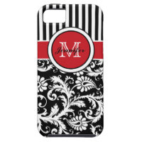 Monogram Red Black White Striped Damask iPhone SE/5/5s Case