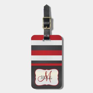 Monogram | Red, Black White Stripes Luggage Tag