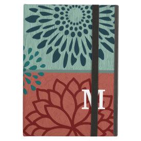 Monogram Red Blue Flower Color Blocks iPad Cover