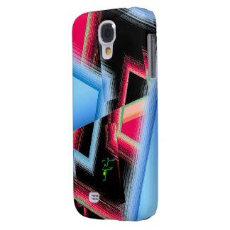 Monogram Red Blue Geometric Galaxy S4 cover