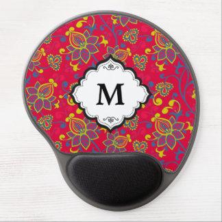 Monogram Red Blue Gold Vintage Floral Pattern Gel Mouse Pad