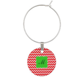 Monogram Red Chevron Pattern with Green Christmas Wine Glass Charms