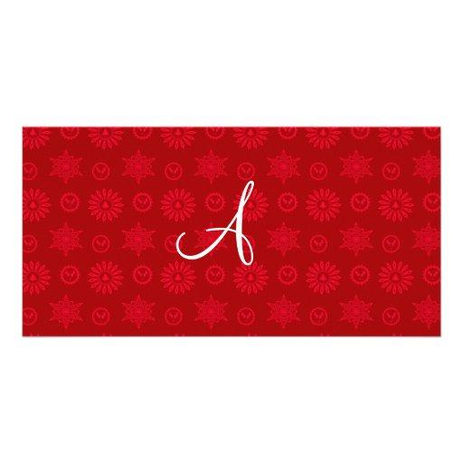 Monogram red christmas stars snowflakes photo card