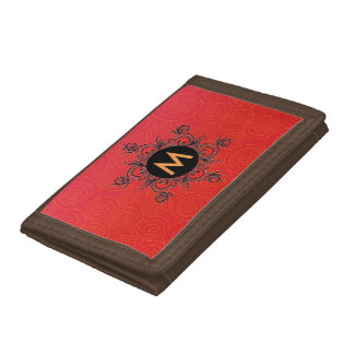 Monogram, red color, trifold wallets