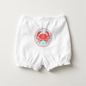 Beach Themed Monogram Red Crab Blue Quatrefoil Diaper Cover