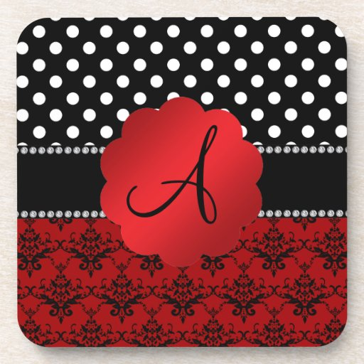 Monogram red damask black polka dots coaster