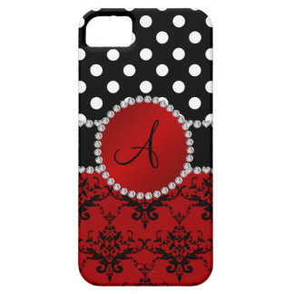 Monogram red damask black polka dots diamonds iPhone 5 cases