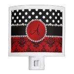 Monogram red damask black polka dots diamonds nite light