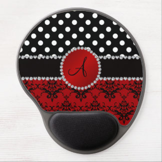 Monogram red damask black polka dots diamonds gel mouse pad