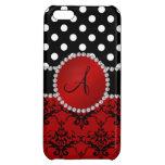 Monogram red damask black polka dots diamonds iPhone 5C case