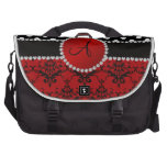 Monogram red damask black polka dots diamonds computer bag