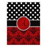 Monogram red damask black polka dots diamonds personalized letterhead