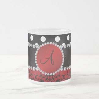 Monogram red damask black polka dots diamonds coffee mugs