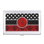 Monogram red damask black polka dots diamonds business card cases