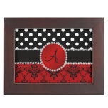 Monogram red damask black polka dots diamonds keepsake box