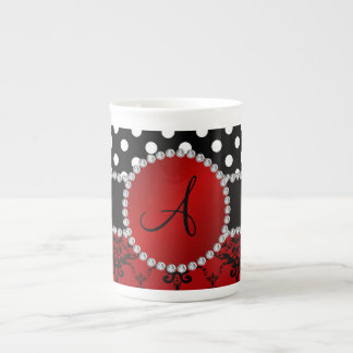 Monogram red damask black polka dots diamonds bone china mugs