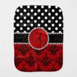 Monogram red damask black polka dots diamonds burp cloth