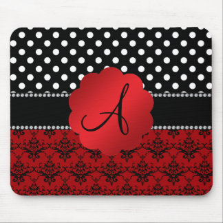 Monogram red damask black polka dots mouse pad