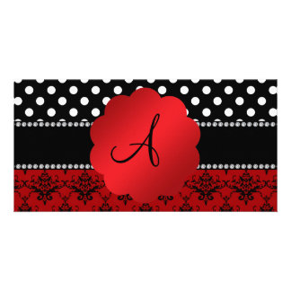 Monogram red damask black polka dots photo card