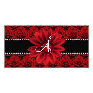 Monogram red damask daisy flower photo card
