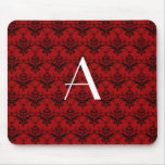 Monogram red damask mouse pad