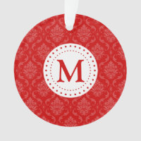 Monogram Red Damask Ornament