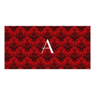 Monogram red damask photo card