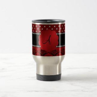 Monogram red damask red diamonds mugs