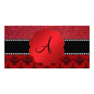 Monogram red damask red glitter photo card