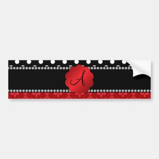 Monogram red damask white polka dots car bumper sticker