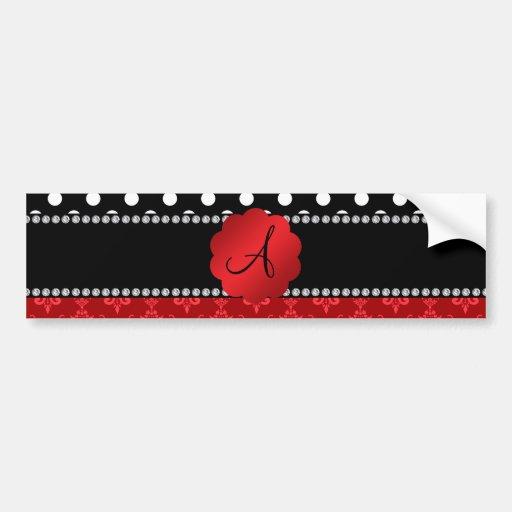 Monogram red damask white polka dots bumper stickers