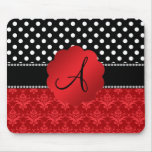 Monogram red damask white polka dots mouse pad