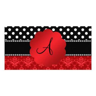 Monogram red damask white polka dots photo card