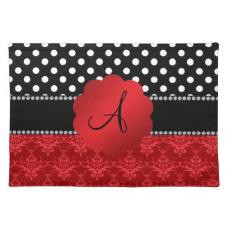 Monogram red damask white polka dots place mats