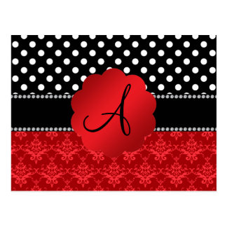 Monogram red damask white polka dots postcards