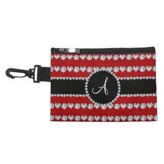 Monogram red diamond hearts stripes accessory bags