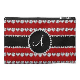 Monogram red diamond hearts stripes travel accessories bag