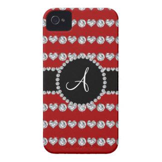 Monogram red diamond hearts stripes Case-Mate iPhone 4 cases