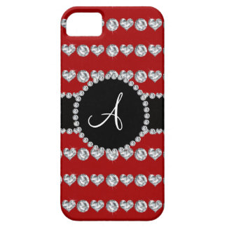 Monogram red diamond hearts stripes iPhone 5 covers