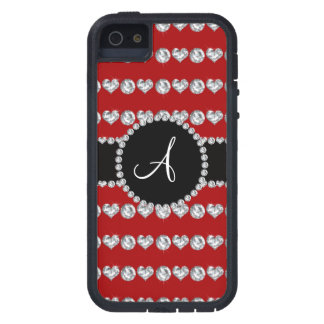 Monogram red diamond hearts stripes case for iPhone 5