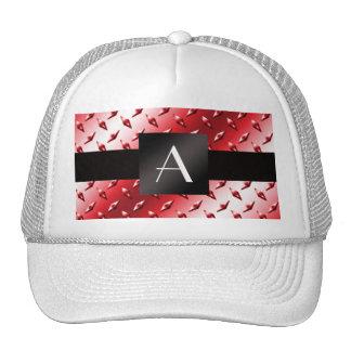 Monogram red diamond steel plate pattern mesh hats
