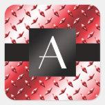 Monogram red diamond steel plate pattern square sticker