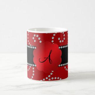 Monogram red diamond swirls coffee mug