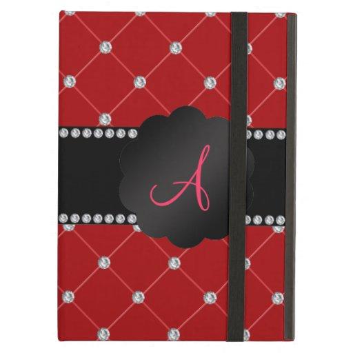 Monogram Red diamonds iPad Covers