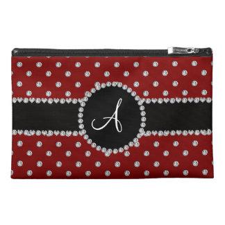 Monogram red diamonds polka dots travel accessories bag