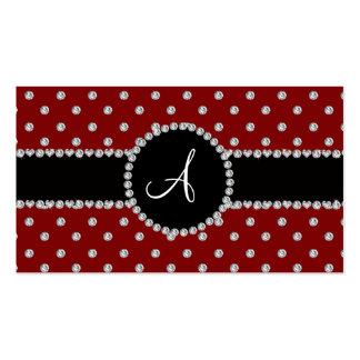 Monogram red diamonds polka dots business card template