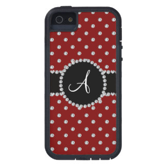 Monogram red diamonds polka dots iPhone 5 covers