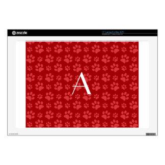 """Monogram red dog paw prints 17"""" laptop decal"""
